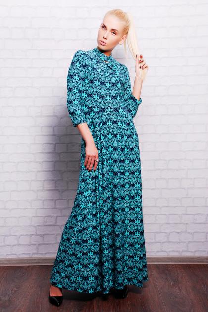 длинное платье с воротником стойка. платье Шарлота2 д/р. Цвет: мята-т.синий узор