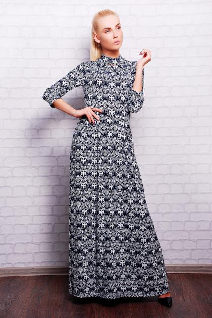 длинное платье с воротником стойка. платье Шарлота2 д/р. Цвет: т.синий-белый узор