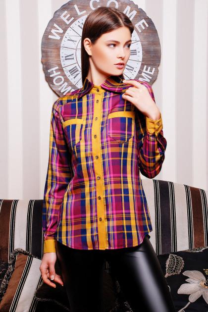 хлопковая рубашка в клетку. блуза Шотландка д/р. Цвет: горчичный-т.синяя отд
