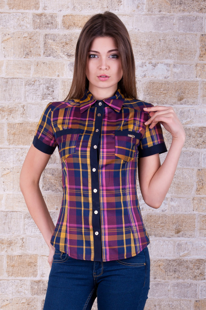 рубашка в клетку с коротким рукавом. блуза Шотландка к/р. Цвет: горчичный-т.синяя отд