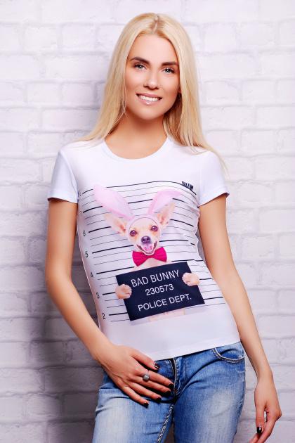модная футбока из вискозы. Bunny Dog Футболка-2В. Цвет: принт