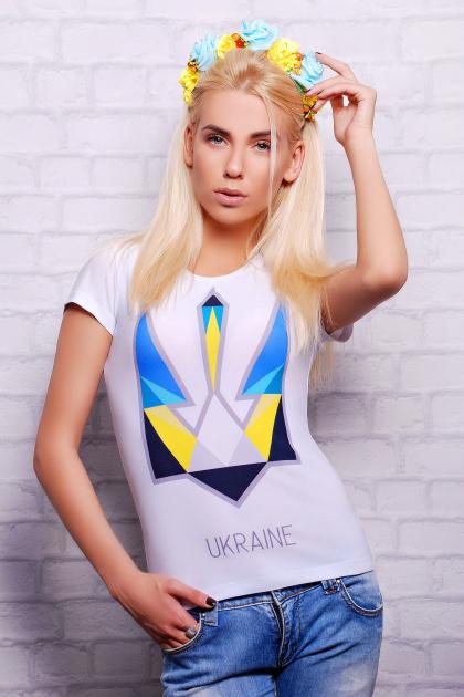 белая футболка с принтом в украинском стиле. Трезубец Футболка-2В. Цвет: принт