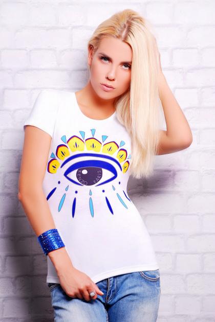 белая футболка с цветным принтом. Глаз Кензо1 Футболка-2В. Цвет: принт