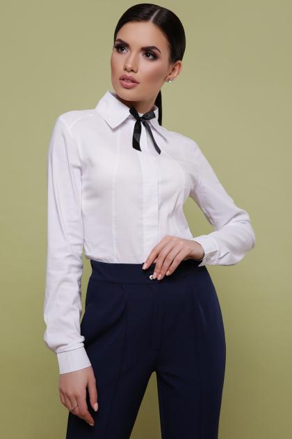 Женская белая блуза классического кроя. блуза Норма д/р. Цвет: белый