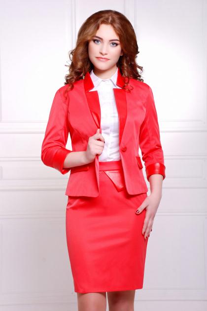 черный приталенный пиджак. пиджак Рандеву. Цвет: красный-красная отделка