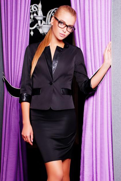 черный приталенный пиджак. пиджак Рандеву. Цвет: черный-черная отделка