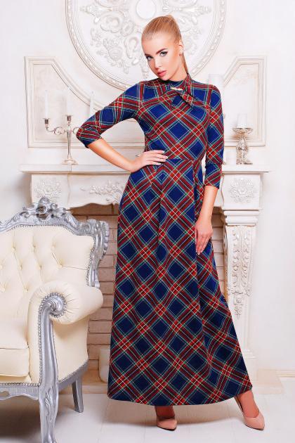трикотажное платье в пол. платье Шарлота3 д/р. Цвет: синий-красная клетка