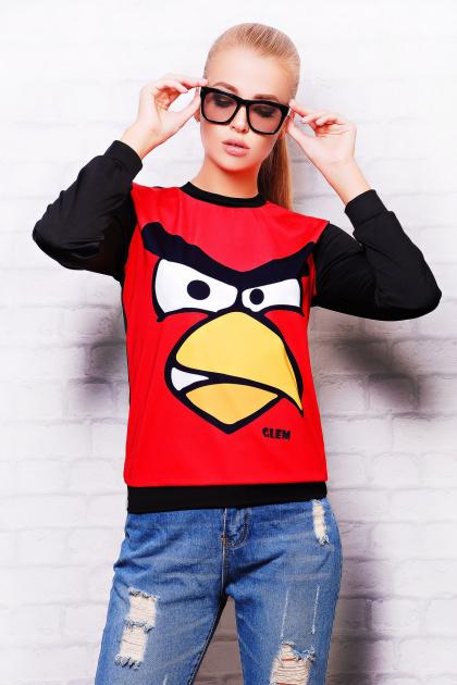 красно-черная кофта свитшот. Angry Birds кофта Свитшот №2 (весна) д/р. Цвет: красный-черная отделка