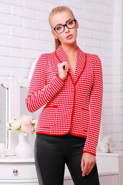 красный пиджак в клетку. пиджак Шанэль-шаль. Цвет: красный-белый квадрат