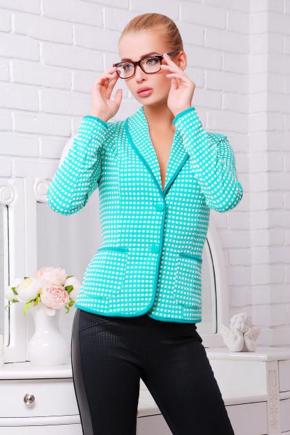 красный пиджак в клетку. пиджак Шанэль-шаль. Цвет: мята-белый квадрат