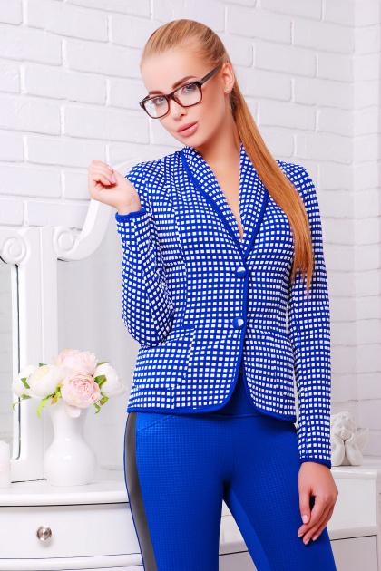 синий пиджак в клетку. пиджак Шанэль-шаль. Цвет: электрик-белый квадрат