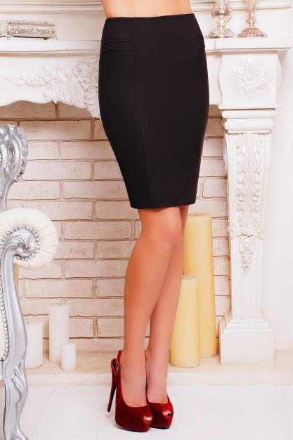 Черная прямая юбка. юбка мод. №16. Цвет: т.коричневый