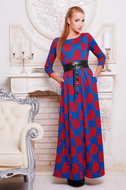 синее длинное платье с розами. платье Шарли д/р. Цвет: электрик-лапка-роза