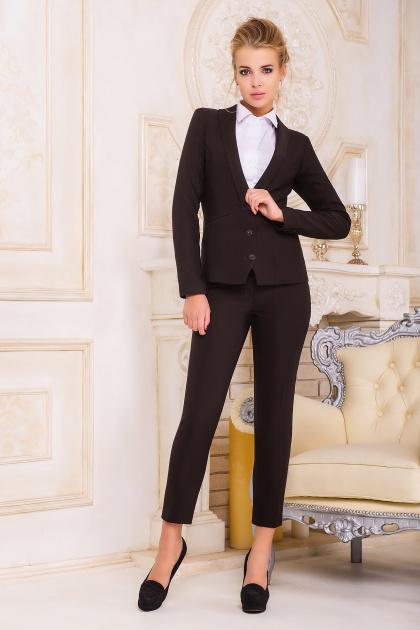 деловой коричневый пиджак. пиджак Одри. Цвет: т.коричневый