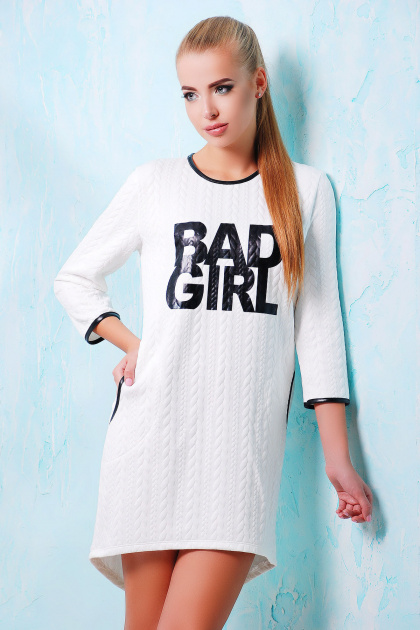 молодежное серое платье. платье Фрэнки д/р. Цвет: белый-черная отделка