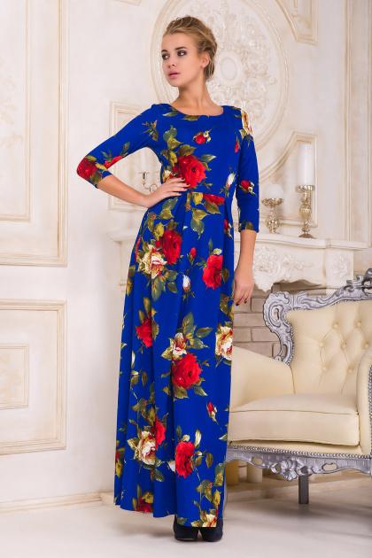 синее платье в пол с розами. платье Шарли2 д/р. Цвет: электрик-роза крупная