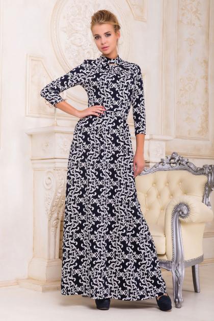 Женское платье в пол с черным ажурным узором. платье Шарлота д/р. Цвет: т.синий-белый узор