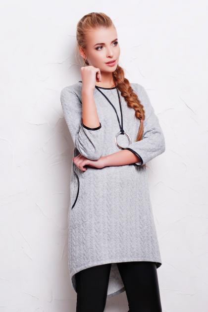 повседневное серое платье. платье Фрэнки2 д/р. Цвет: серый