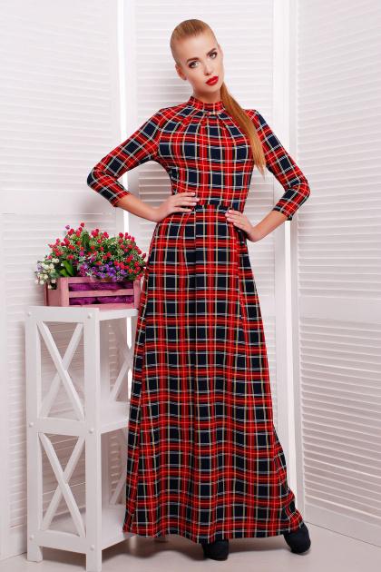 фиолетовое платье в пол. платье Шарлота4 д/р. Цвет: синий-красная клетка