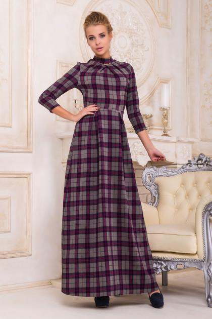 фиолетовое платье в пол. платье Шарлота4 д/р. Цвет: фиолетовый-серая клетка