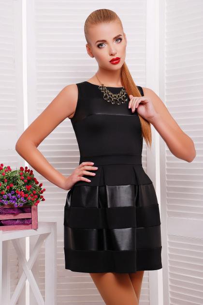 платье черного цвета с кожаными вставками. платье Шакира б/р. Цвет: черный-кожа