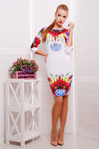 платье тюльпан с рукавом три четверти. Маки платье Эльза д/р. Цвет: принт