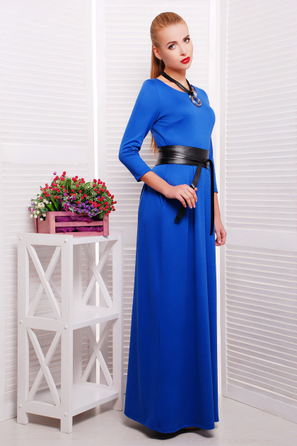 изумрудное платье длины макси. платье Шарли3 д/р. Цвет: электрик