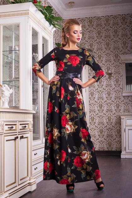синее платье в пол с розами. платье Шарли2 д/р. Цвет: черный-роза крупная