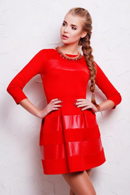 черное короткое платье. платье Шакира д/р. Цвет: красный-кожа