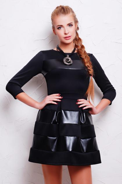 черное короткое платье. платье Шакира д/р. Цвет: черный-кожа