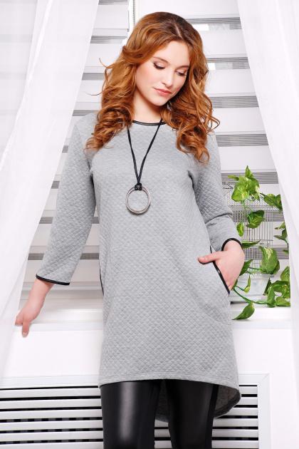 повседневное серое платье. платье Фрэнки2 д/р. Цвет: серый ромб
