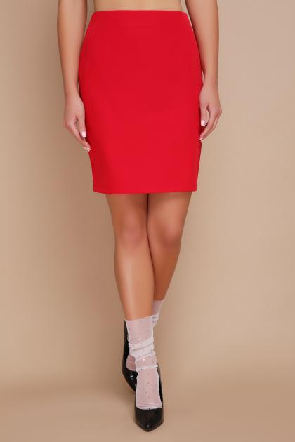 прямая синяя юбка до колен. юбка мод. №1. Цвет: красный