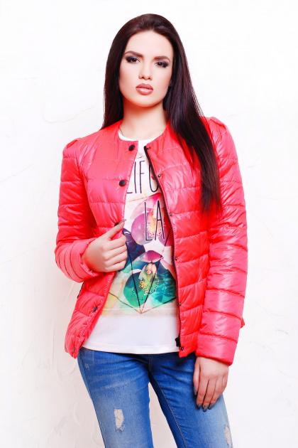 короткая женская куртка на осень цвета пудра. куртка Квин. Цвет: ультра розовый