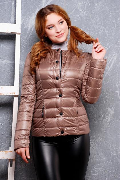 короткая женская куртка на осень цвета пудра. куртка Квин. Цвет: темно бежевый