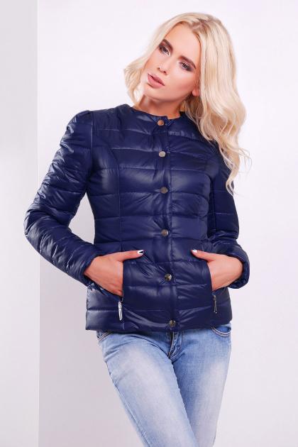 короткая женская куртка на осень цвета пудра. куртка Квин. Цвет: синий