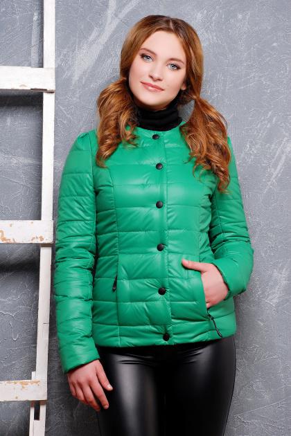 короткая женская куртка на осень цвета пудра. куртка Квин. Цвет: зеленый