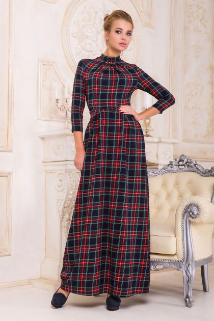 фиолетовое платье в пол. платье Шарлота4 д/р. Цвет: синий-красная Б клетка