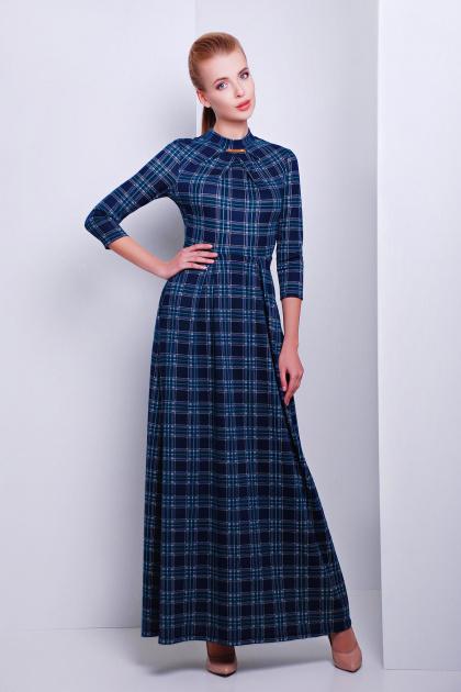 фиолетовое платье в пол. платье Шарлота4 д/р. Цвет: синий-зеленая М клетка