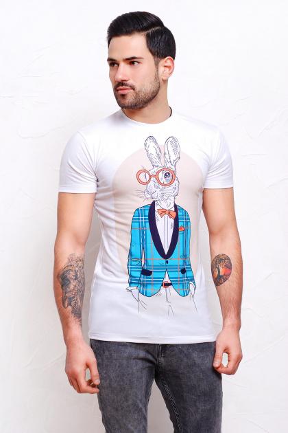 оригинальная мужская футболка. Кролики Футболка Men-2В. Цвет: принт