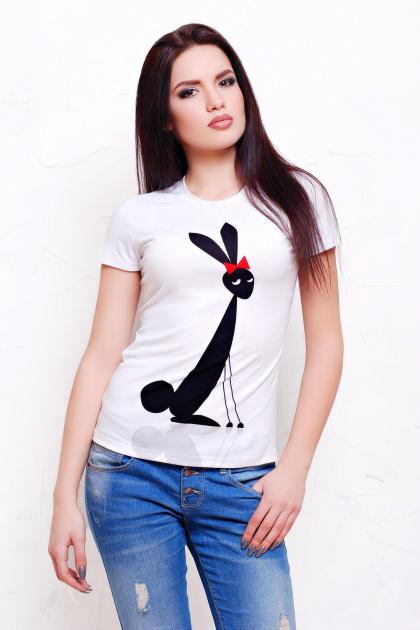 молодежная футболка с зайцем. Зайцы Футболка-2В. Цвет: принт