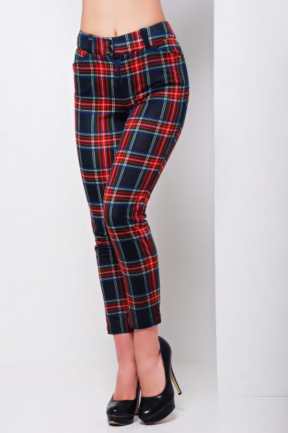 стильные женские брюки в клетку. брюки Эдема. Цвет: красный-синий клетка