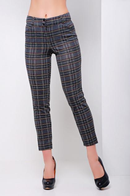 стильные женские брюки в клетку. брюки Эдема. Цвет: серая клетка