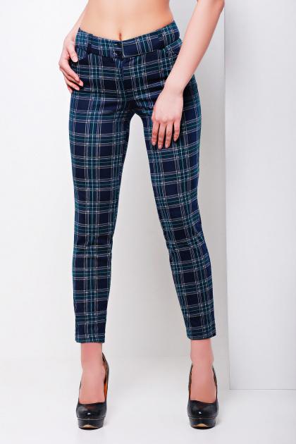 стильные женские брюки в клетку. брюки Эдема. Цвет: синий-зеленый клетка