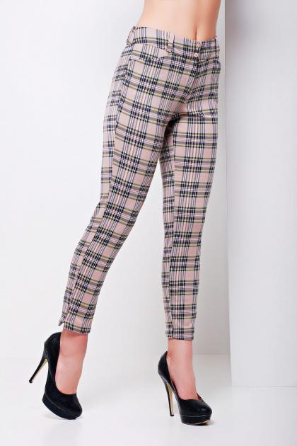 стильные женские брюки в клетку. брюки Эдема. Цвет: бежевая клетка