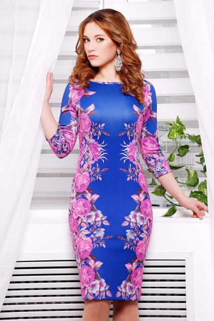 синее платье с цветочным принтом. Фиолетовые розы №2 Платье Лоя-1 д/р. Цвет: принт