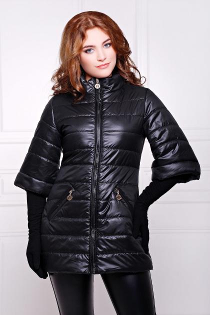 синяя куртка с рукавом три четверти. куртка Лисси. Цвет: черный