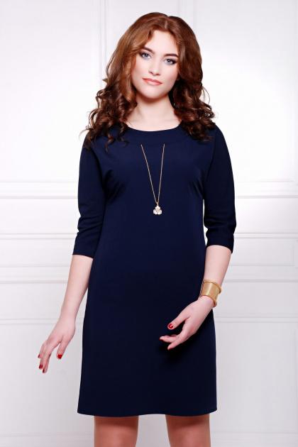 темно-синее платье прямого кроя. платье Элика д/р. Цвет: темно синий