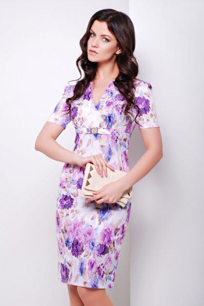 летнее платье футляр с цветами. платье Энжи к/р. Цвет: белый-фиолет.цветы