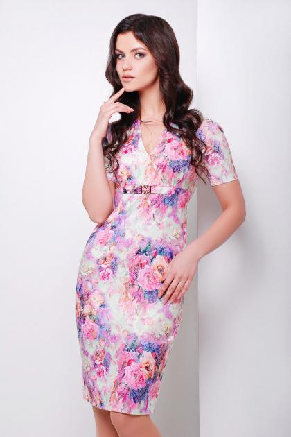 летнее платье футляр с цветами. платье Энжи к/р. Цвет: салатов.-розов.цветы