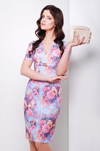 летнее платье футляр с цветами. платье Энжи к/р. Цвет: голуб.-розов.цветы